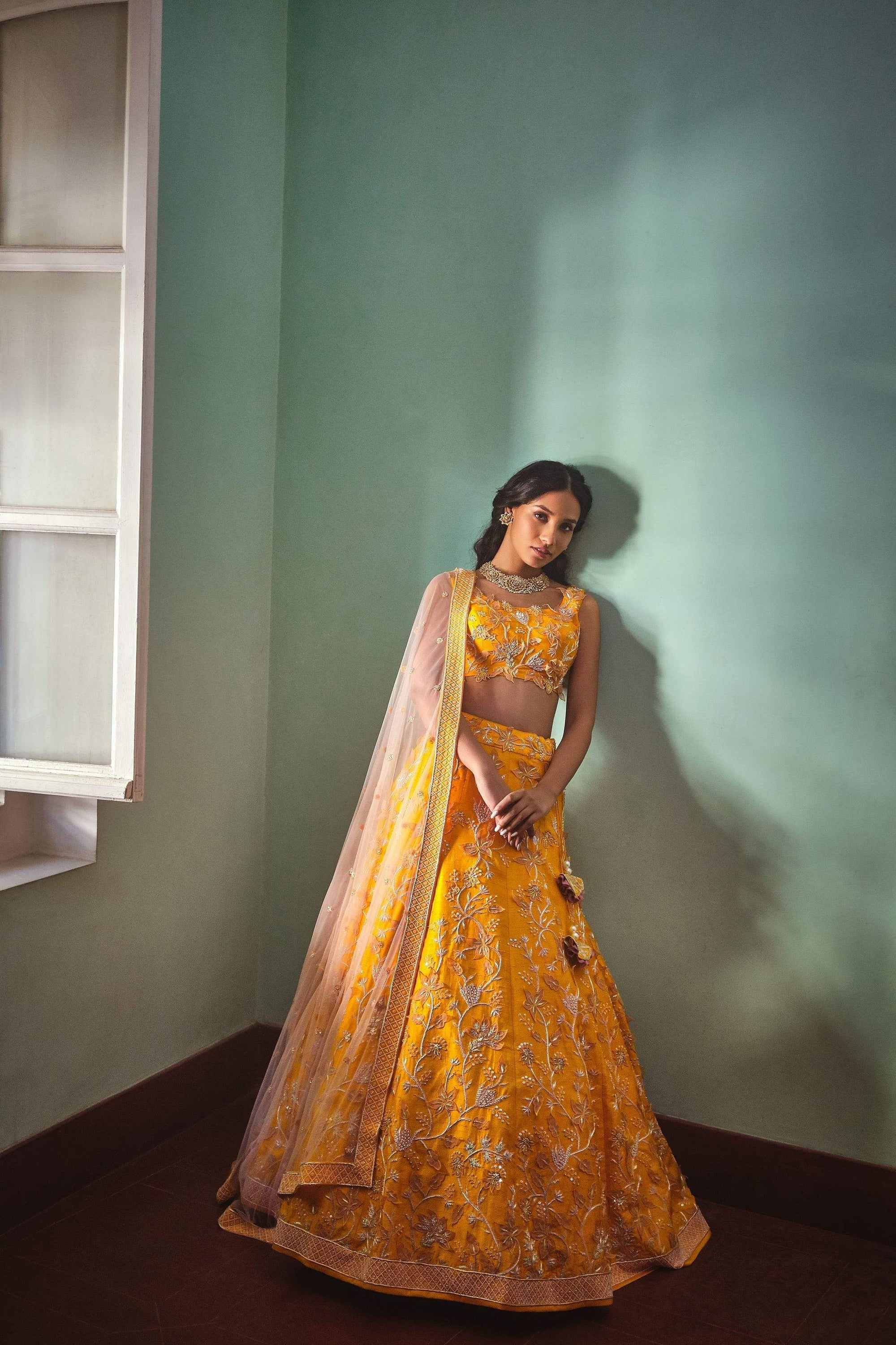 Mishru Lehengas Raw silk & tulle lehenga blouse and dupatta.