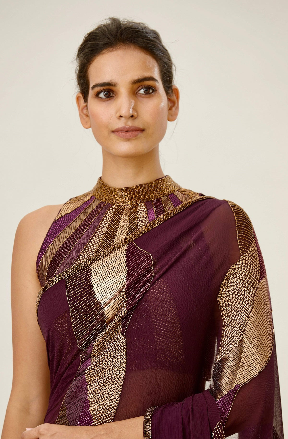 Nakul Sen Sarees Aubergine embroidered saree