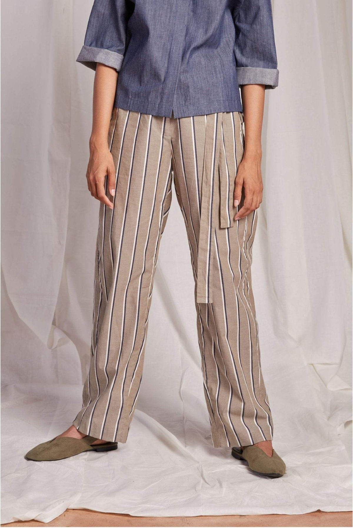 Naushad Ali Bottoms Striped Remi trouser