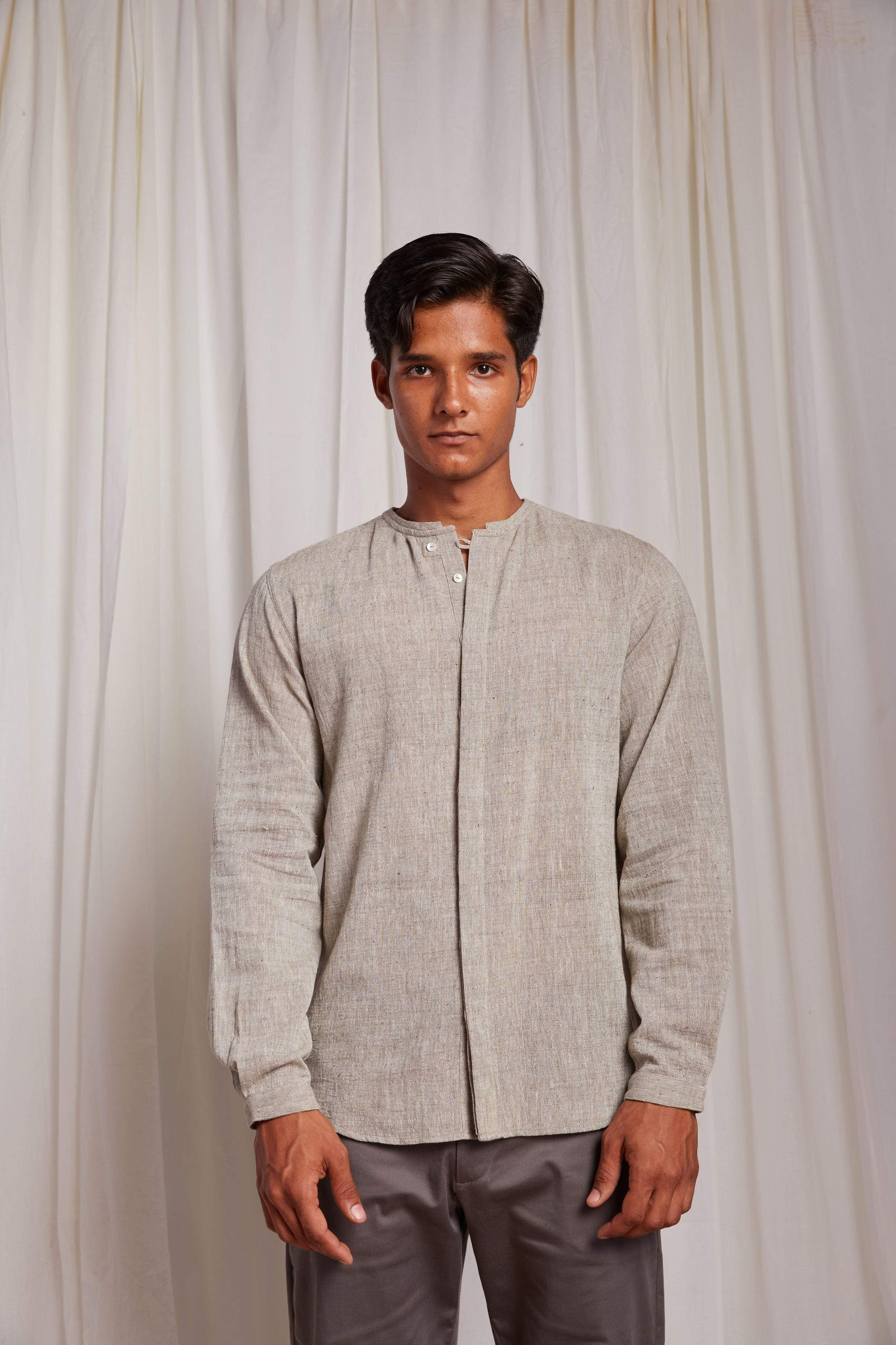 Naushad Ali Mens Shirts Kala Cotton Tao Shirt