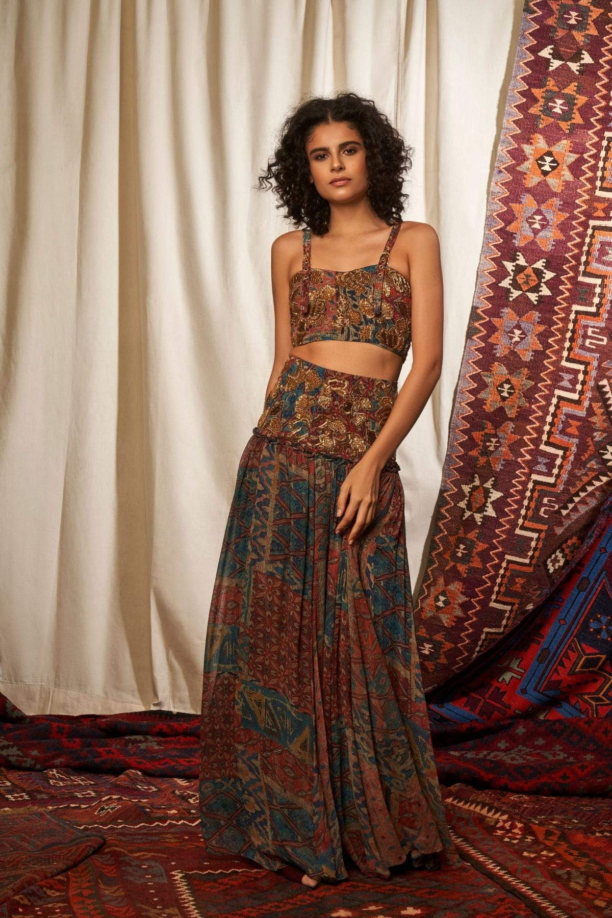 Nikita Mhaisalkar Bottoms Carpet print skirt
