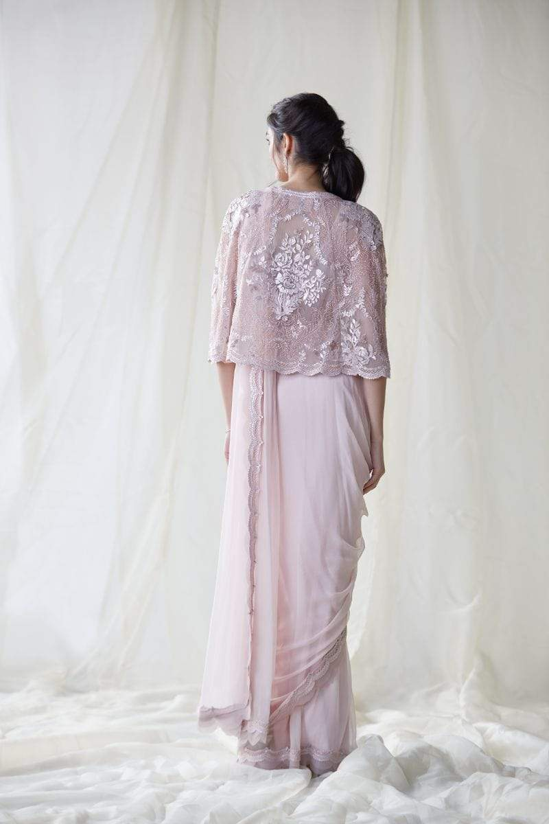 Pankaj & Nidhi Draped Sarees Seashell Pink Draped Saree & Cape