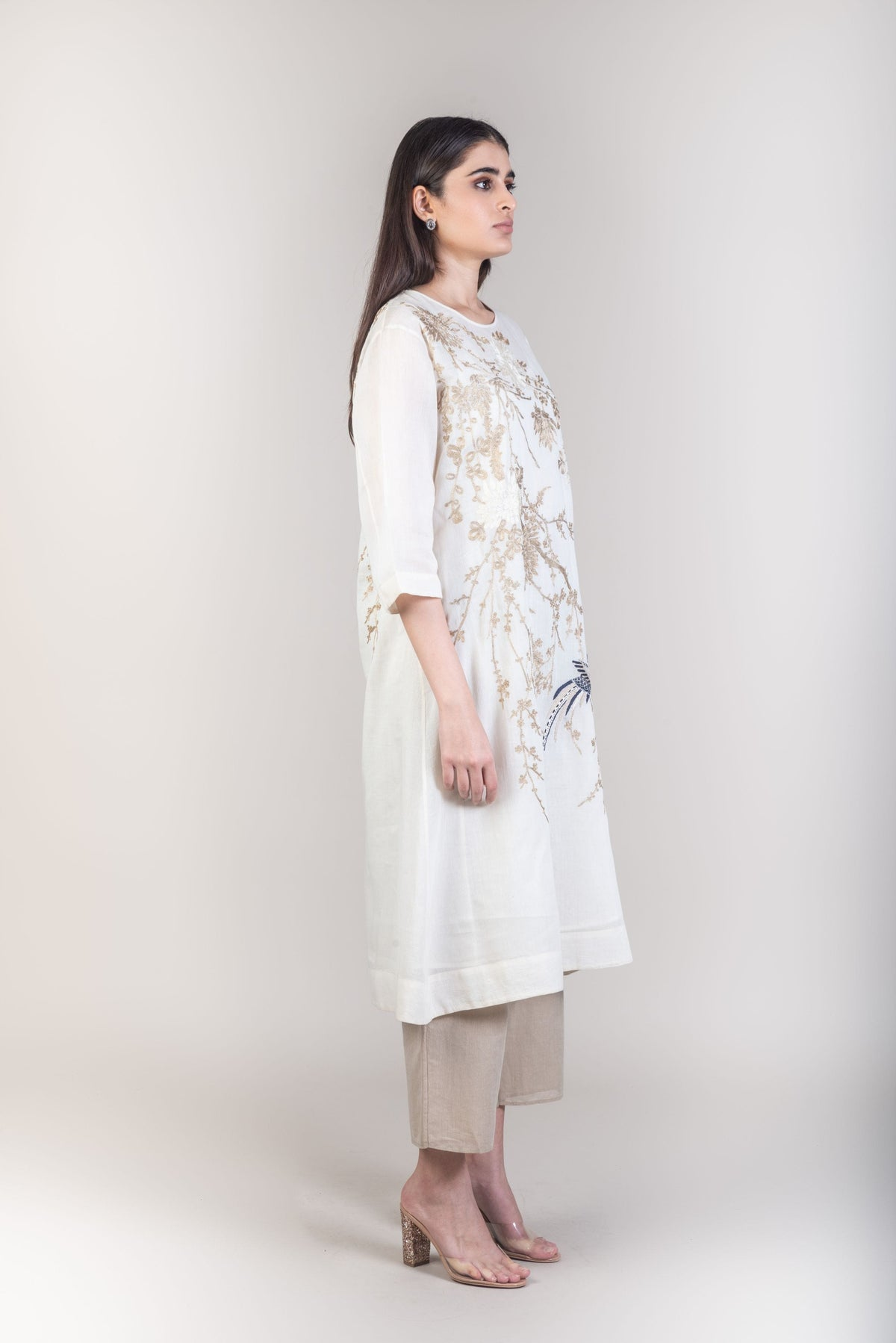 Peachoo Dresses Aari embroidered off white dress
