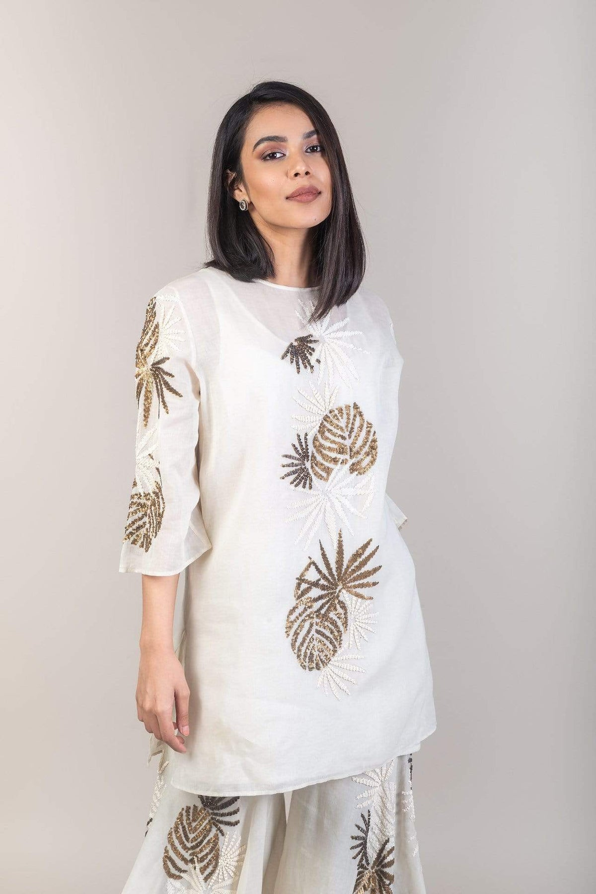 Peachoo Shirts & Tops Cotton foliage embroidered top