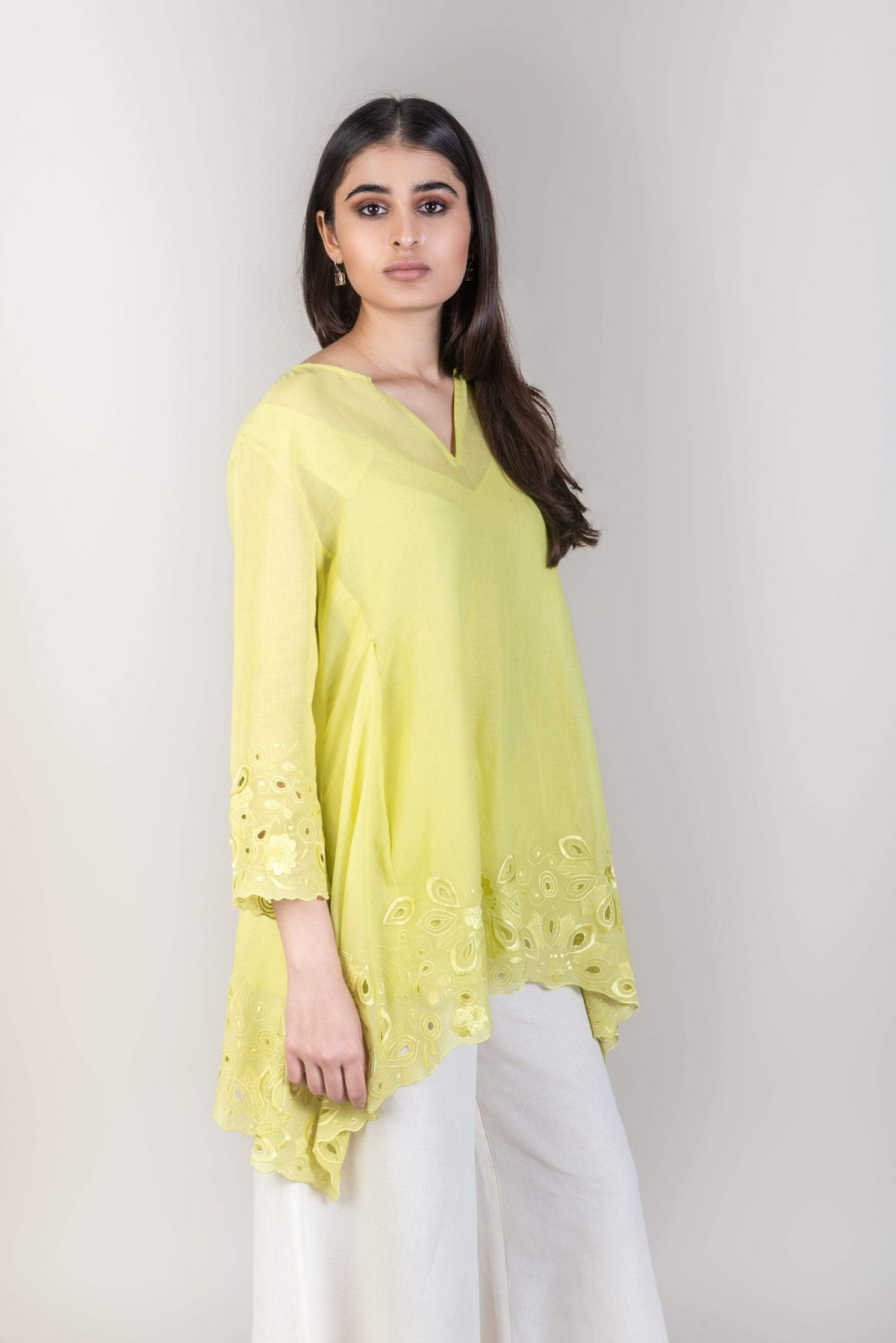 Peachoo Shirts & Tops Cutwork top with slip