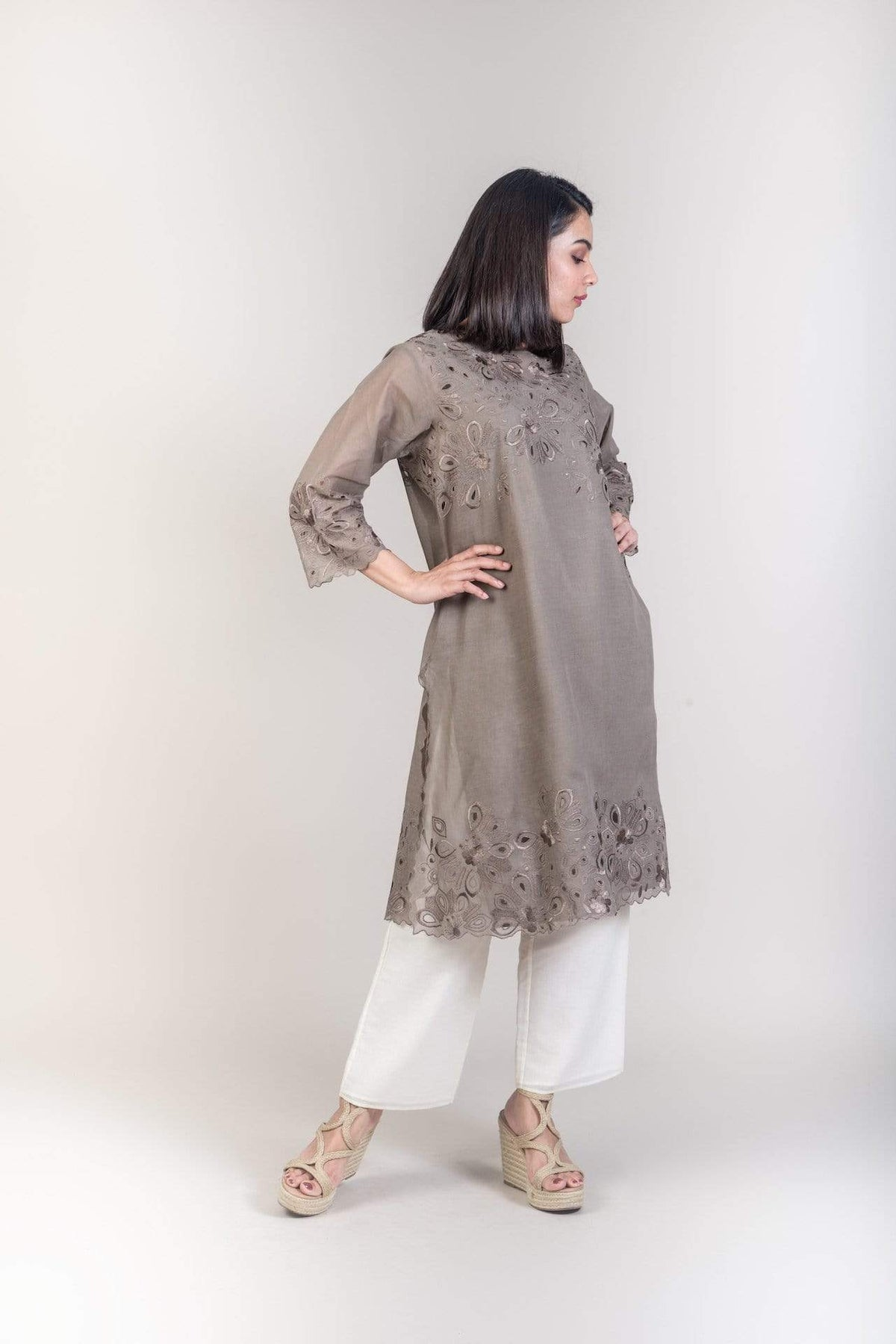 Peachoo Tunics Cotton cut work tunic