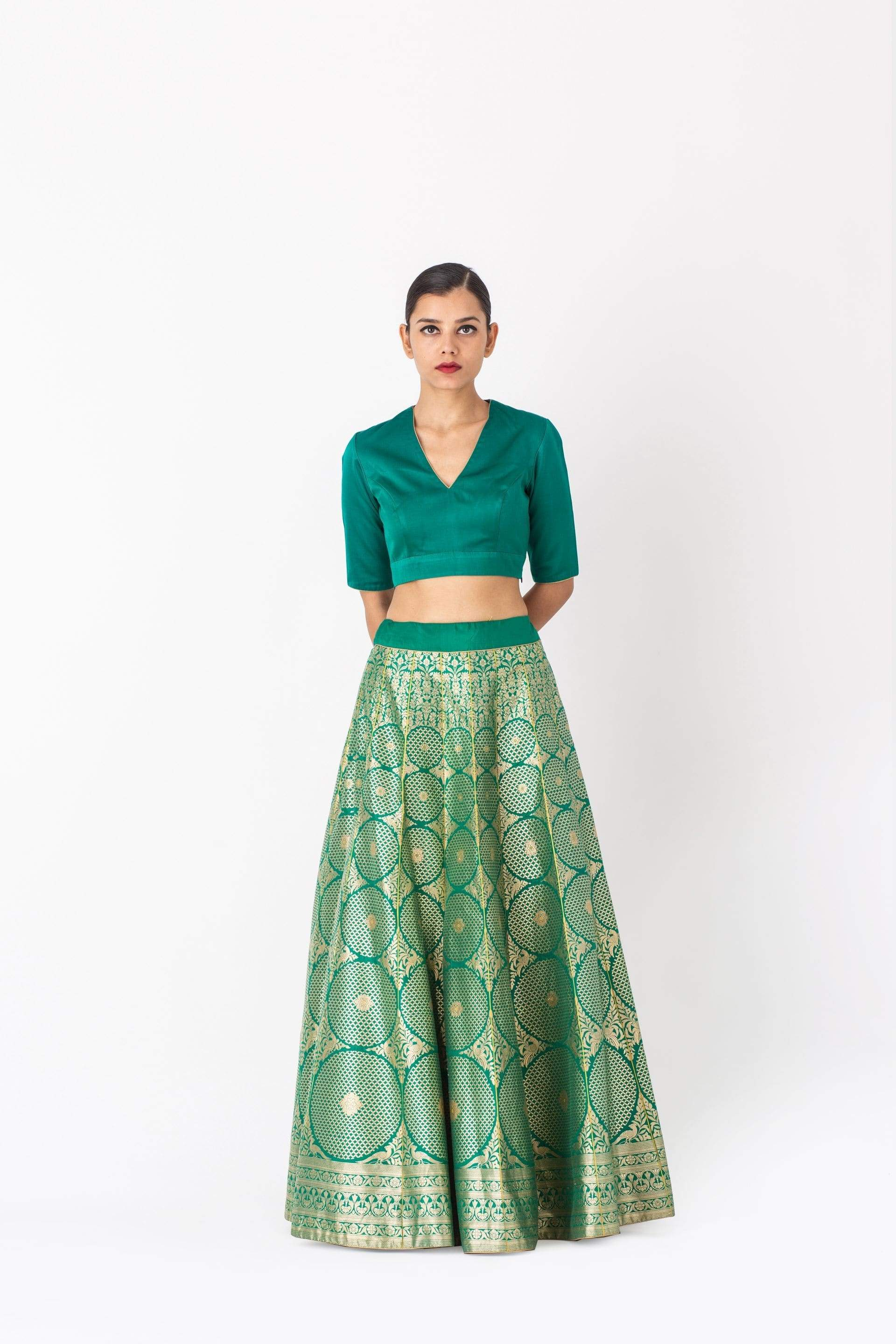 Raw Mango Light Lehengas Abheesha & Pali silk brocade lehenga set