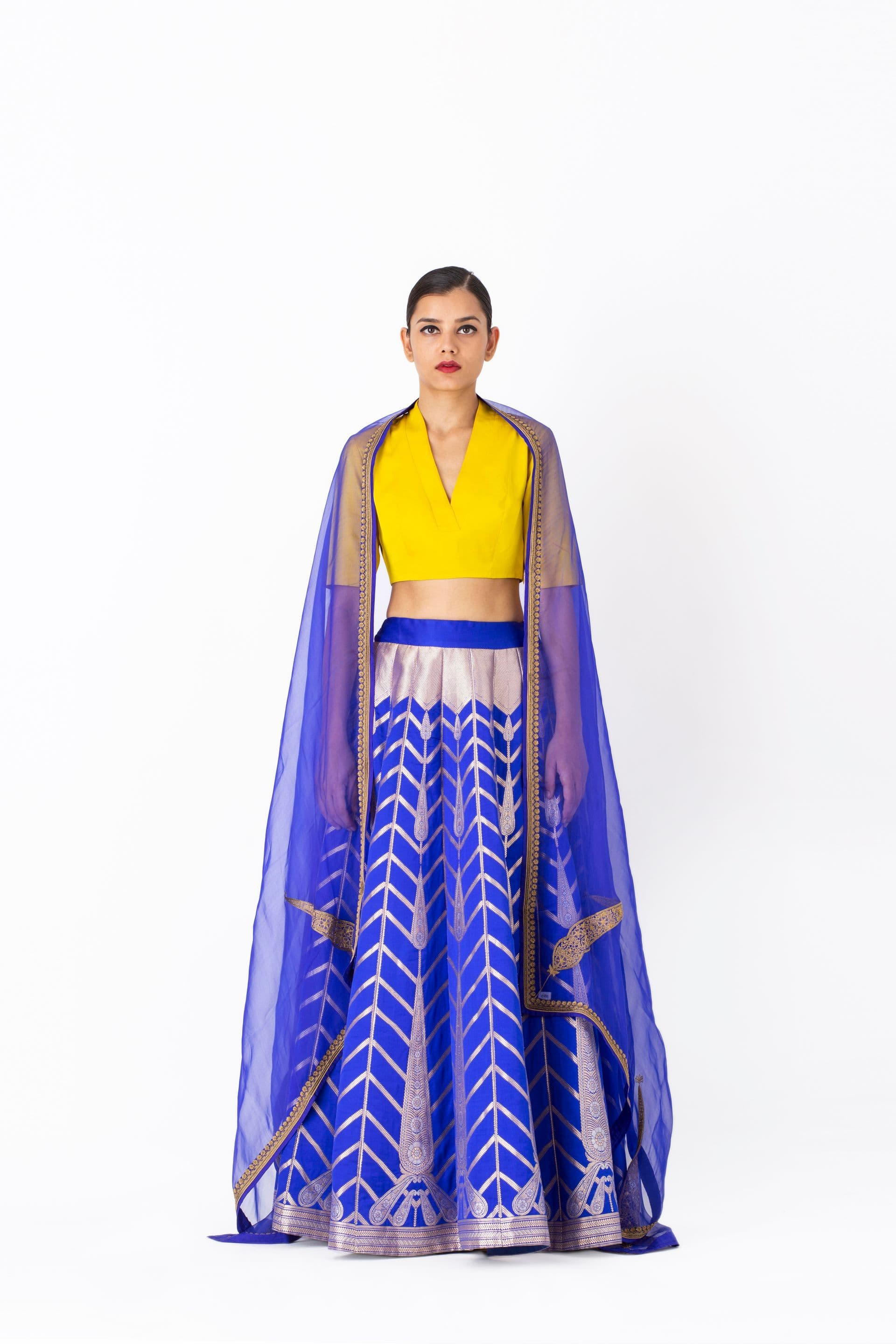 Raw Mango Light Lehengas Mansoor & Pali varanasi silk lehenga set