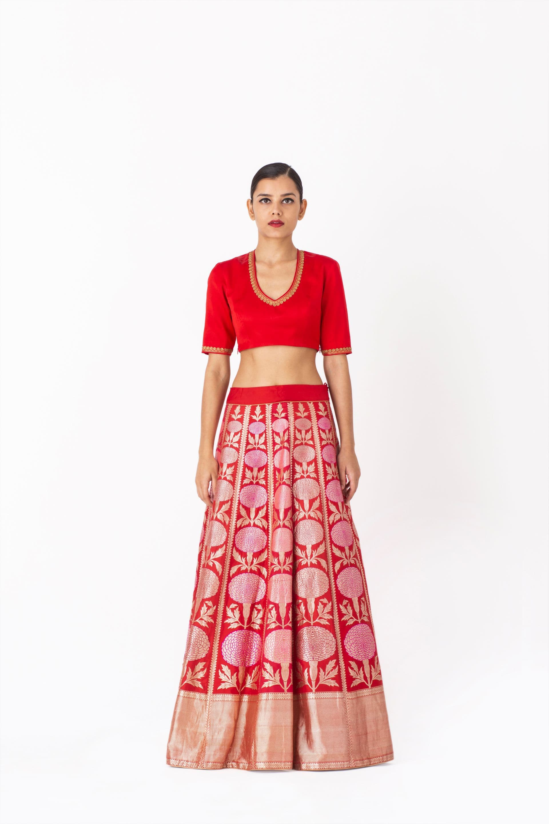 Raw Mango Light Lehengas Reyhana & Hakim silk brocade lehenga set