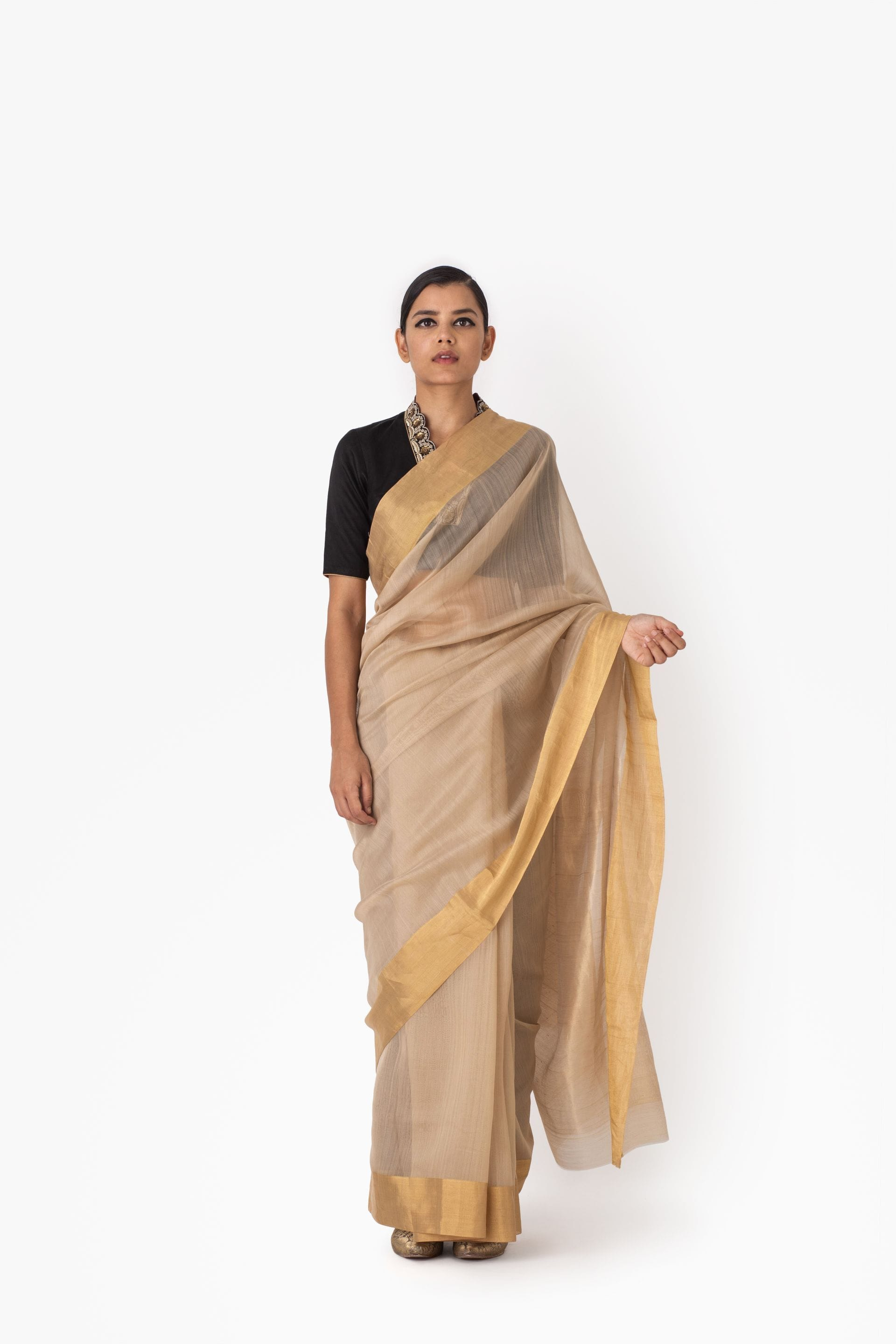 "Raw Mango Sarees FS 4"" border cotton silk saree"