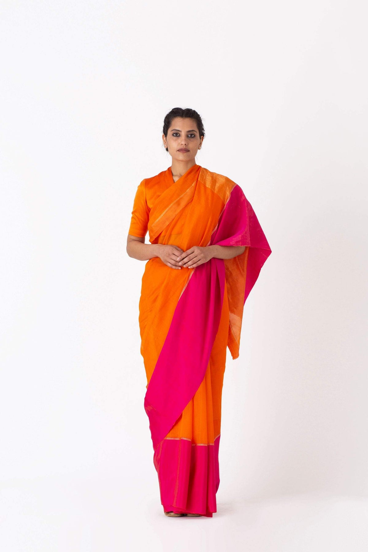 Raw Mango Sarees FS Rangeen orange silk saree