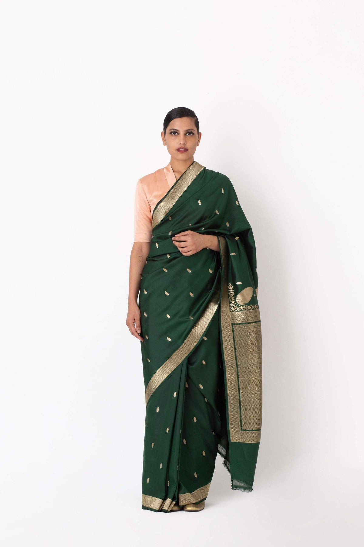 Raw Mango - Riaz Kashmiri green saree