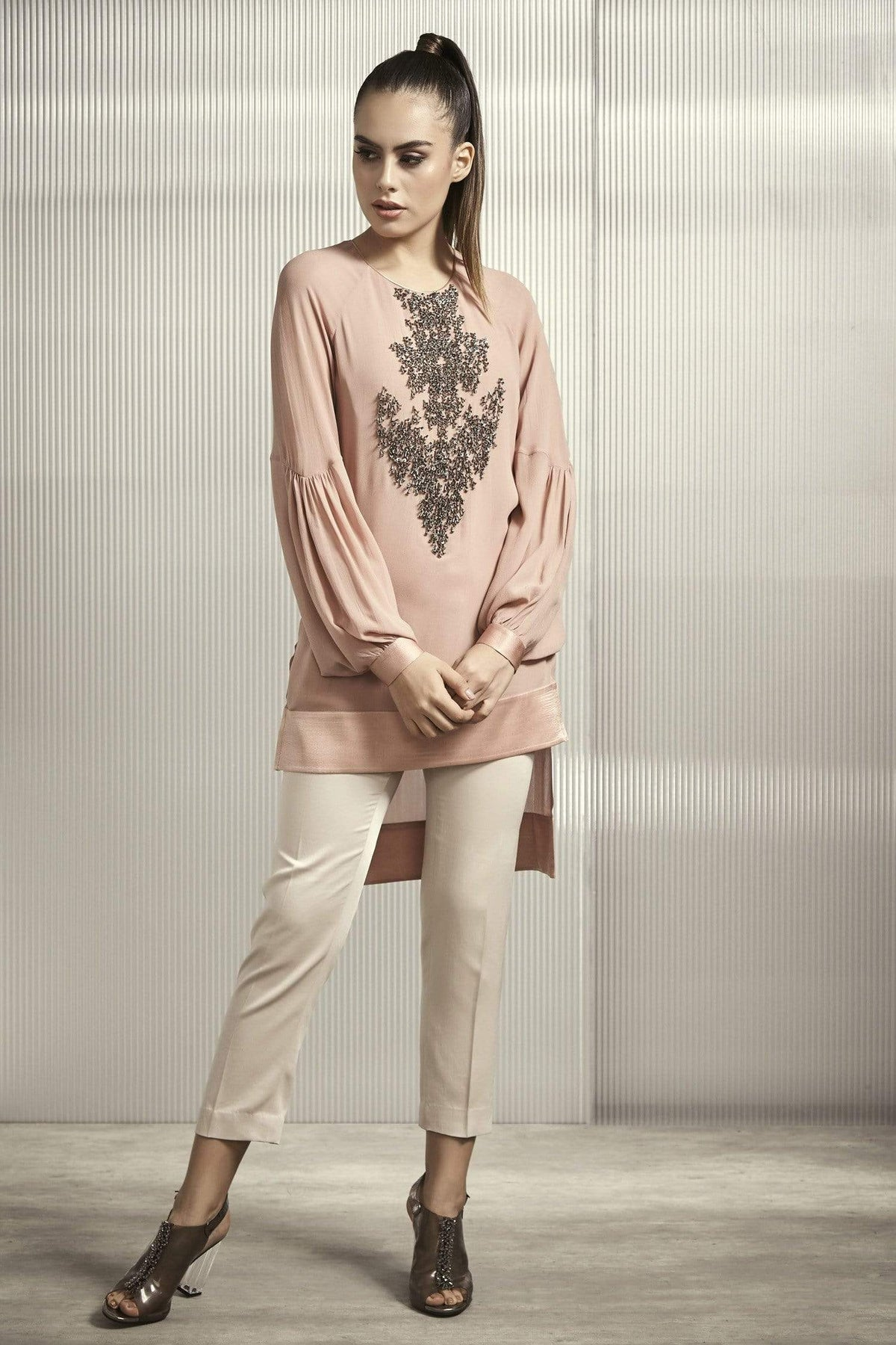 Rohit Gandhi + Rahul Khanna Shirts & Tops Bead embroidered light rose top