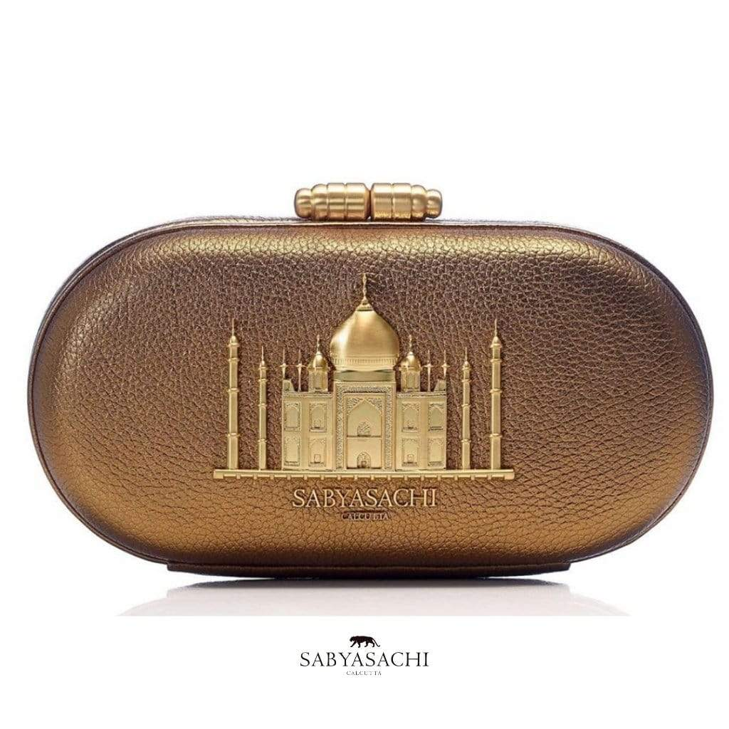 Sabyasachi Bags & Clutches Taj Minaudiere in Sahara Gold Leather