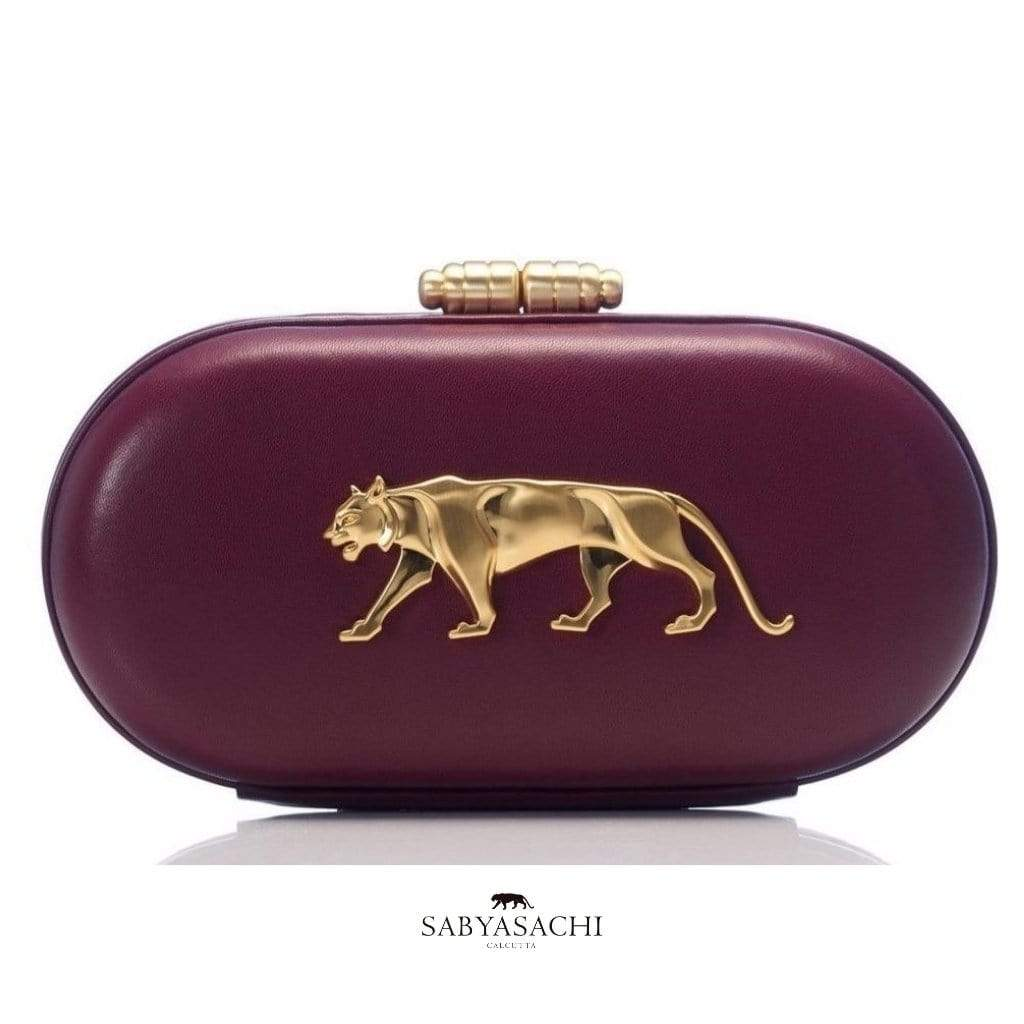 Sabyasachi Bags & Clutches The Royal Bengal Tiger Logo Clutch in Mulberry