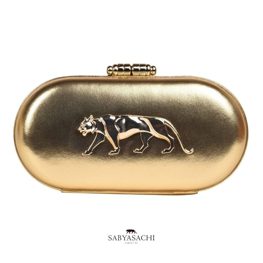 Sabyasachi Bags & Clutches The Royal Bengal Tiger Logo Embellished Clutch in Mekong