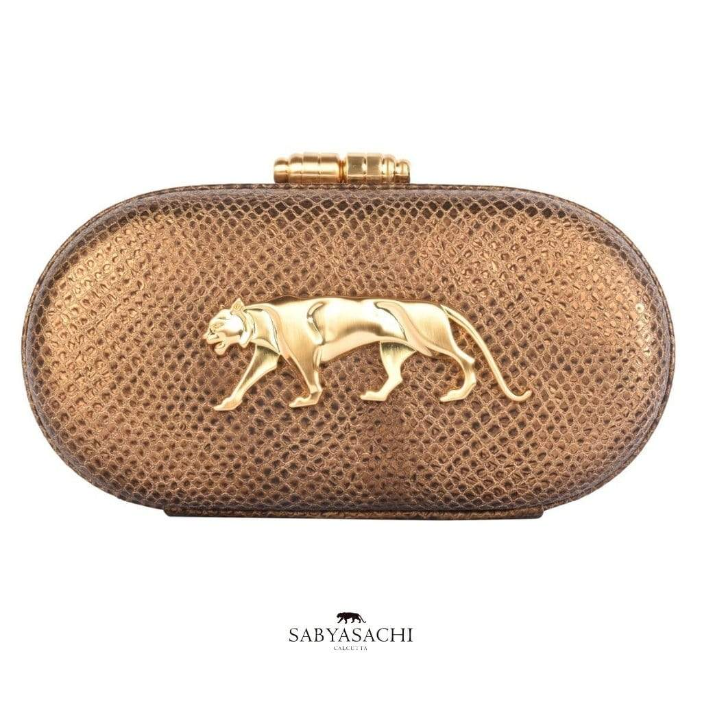 Sabyasachi Bags & Clutches The Royal Bengal Tiger Logo Embellished Clutch in Sahara Gold