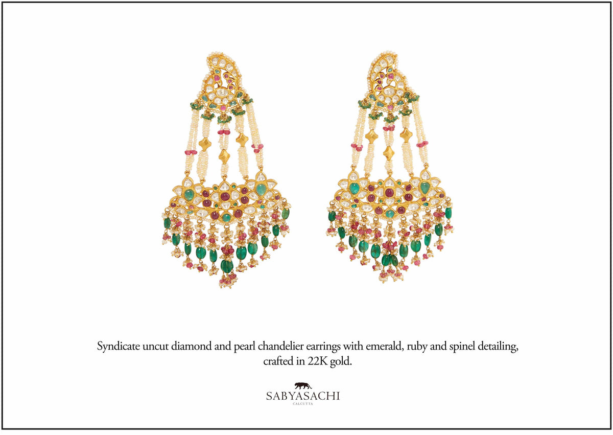 Sabyasachi Fine Jewellery 22k Gold uncut diamond and pearl chandelier earring