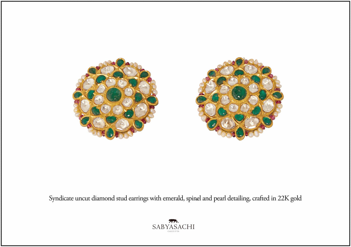 Sabyasachi Fine Jewellery 22k Gold uncut diamond stud earrings