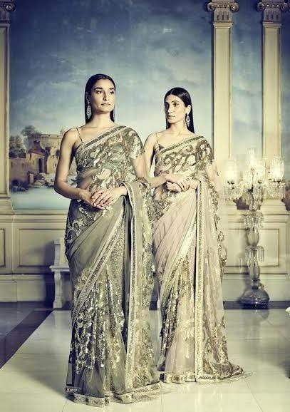 Sabyasachi Sarees Tulle Cocktail Saree in Smoke