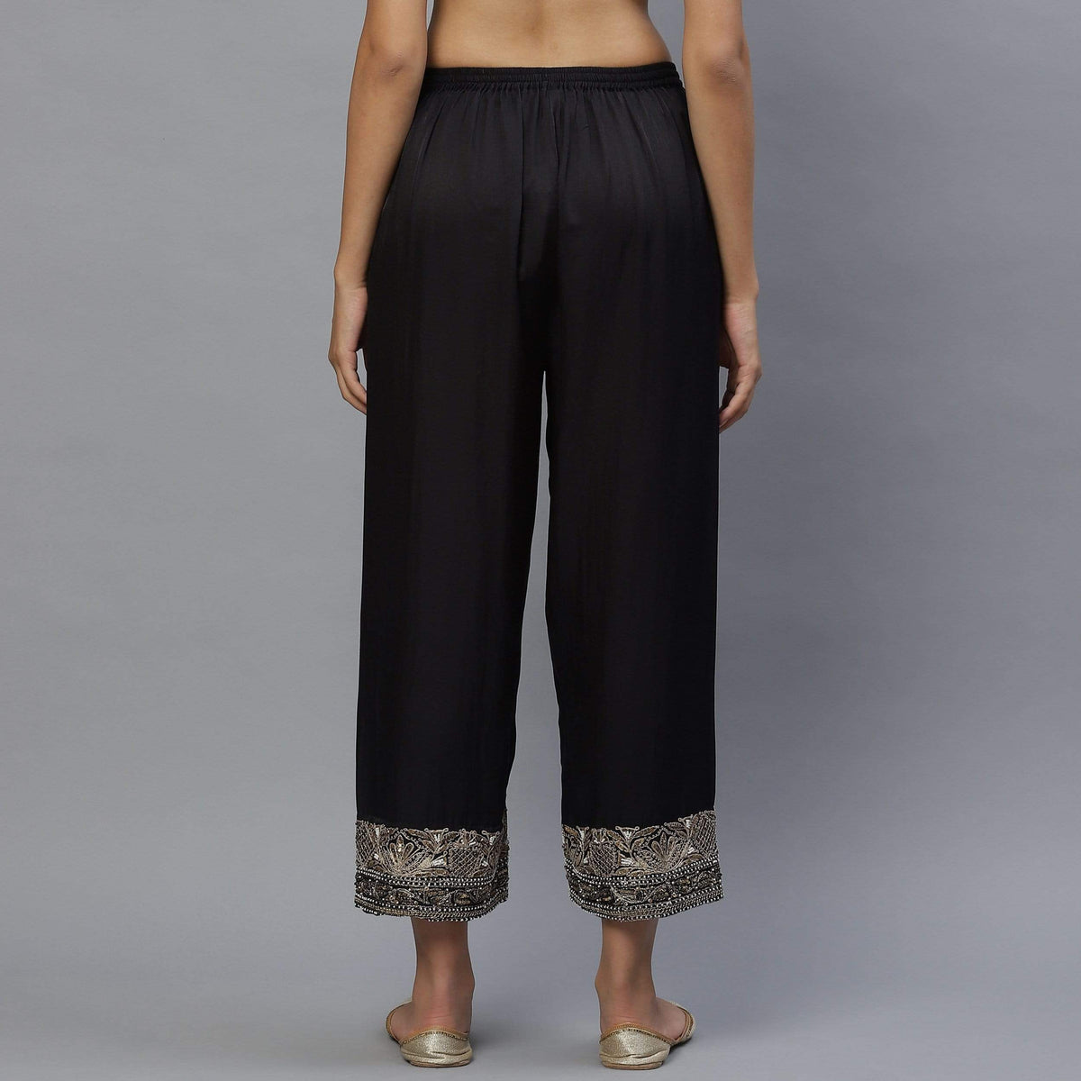 Shades of India Bottoms Black cotton silk pyjama
