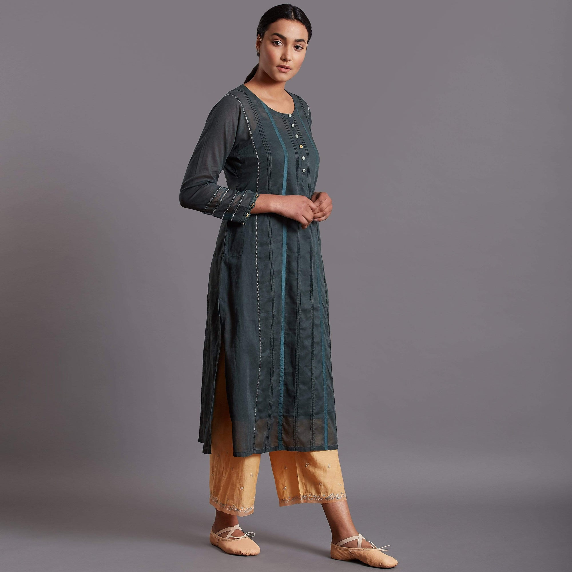 Shades of India Kurtas Cotton kurta with fabric manipulation