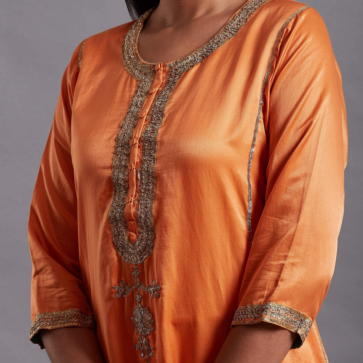 Shades of India Kurtas Kurta made in orange silk