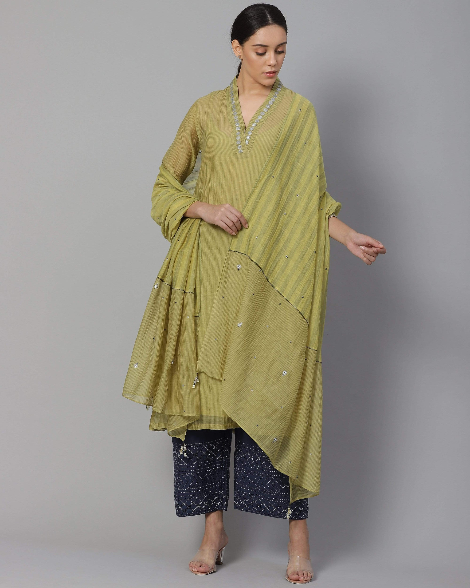 Shades of India Kurtas Penley green chanderi kurta