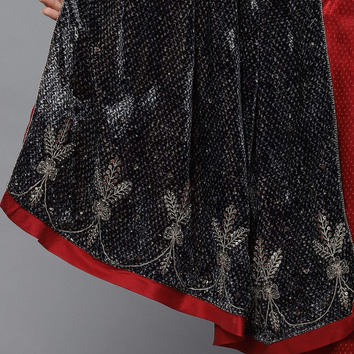 Shades of India Scarves & Stoles FS Printed black velvet shawl