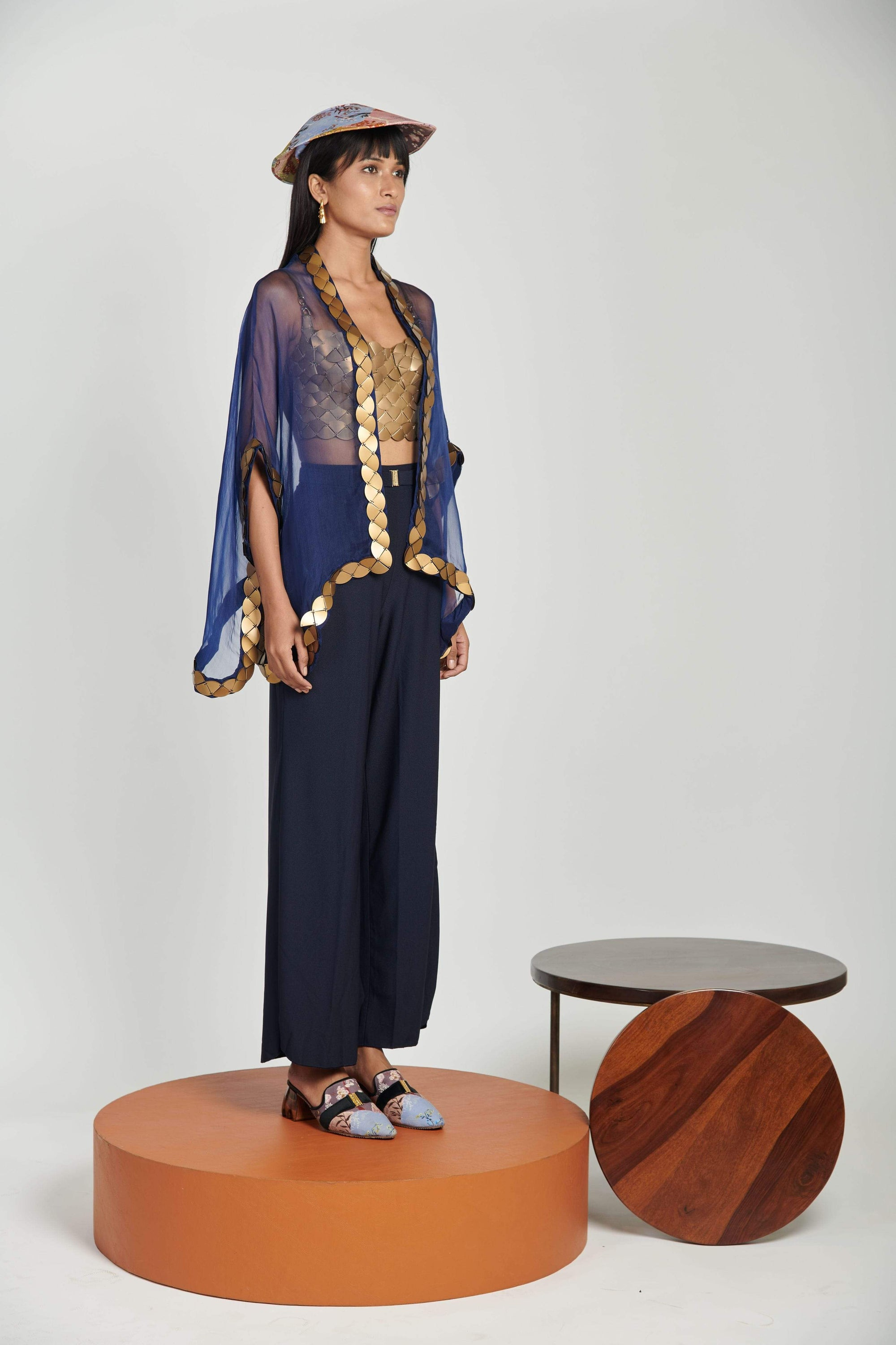 Shivan & Narresh Cape Sapphire Sheer Kite Skein Cape