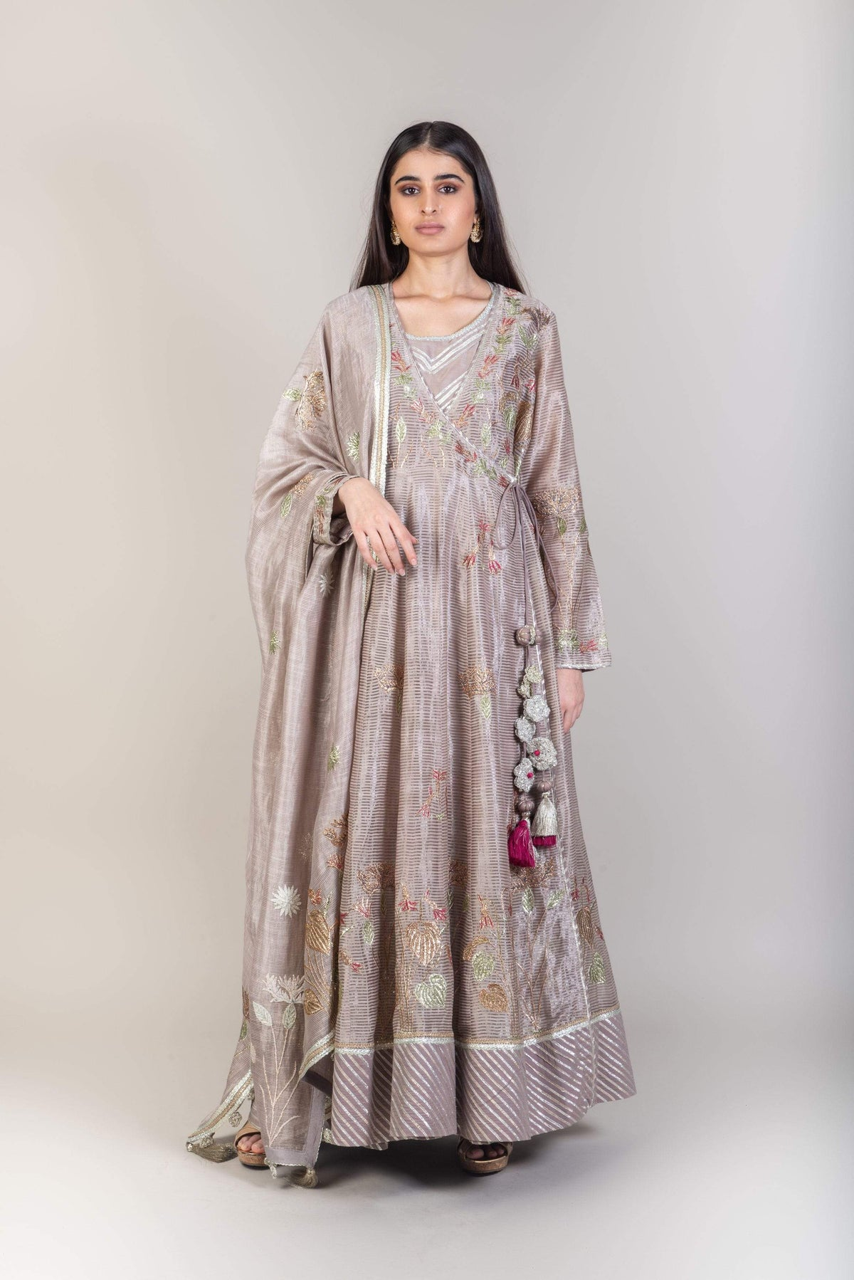 Simar Dugal Kurtas Beige chanderi stripe kurta set