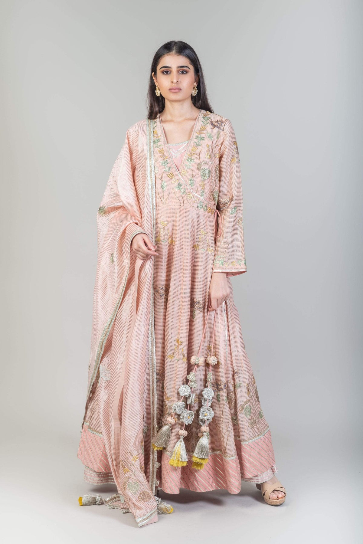 Simar Dugal Kurtas Peach chanderi stripe kurta set