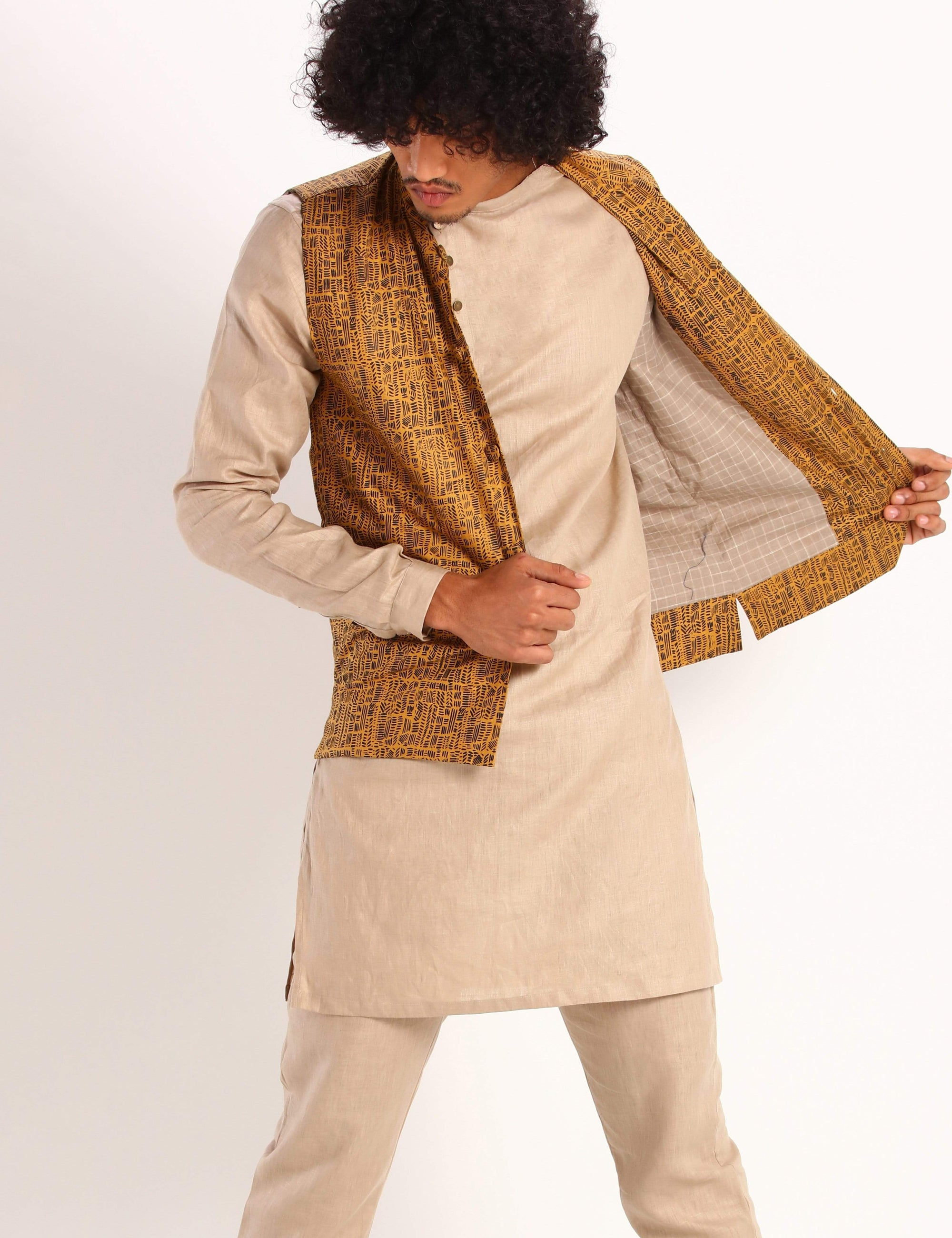 Son Of A Noble Mens Nehru Jackets Uptown - mustard