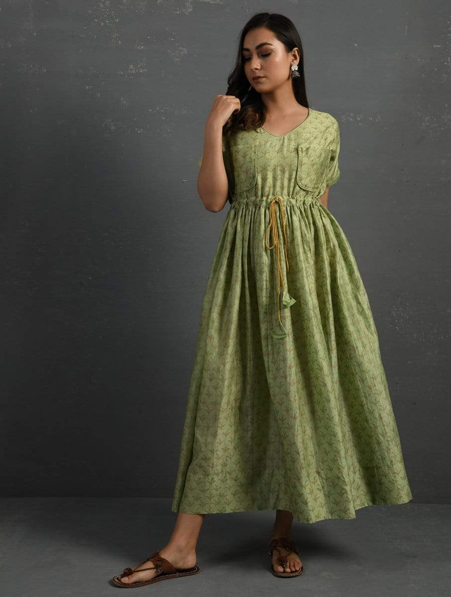 Sonal Kabra Kurtas Green printed maxi dress