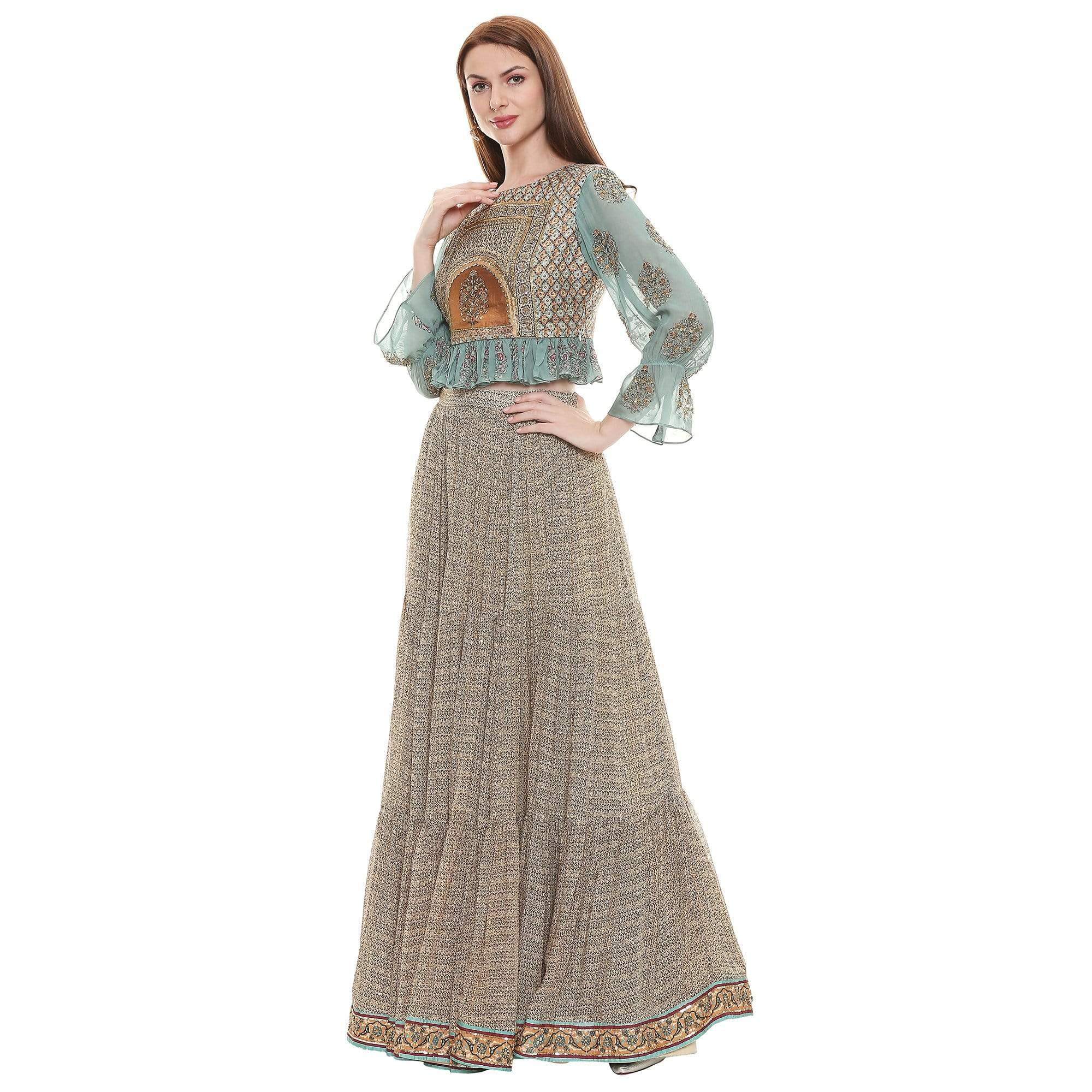 Sougat Paul Co-ordinated sets A set of crop top, three tiered skirt & dupatta