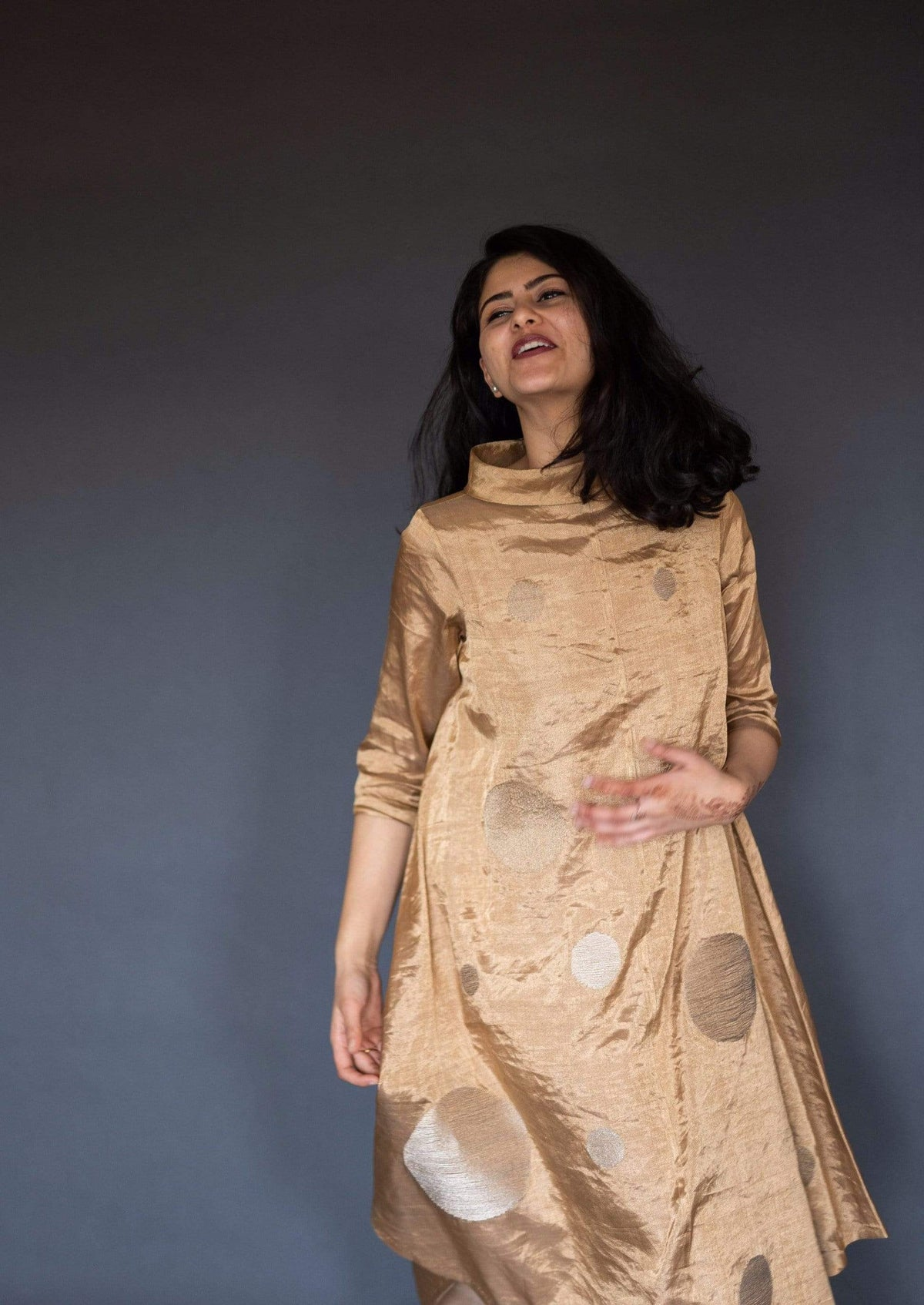 Taika by Poonam Bhagat Dresses Geometric tunic dress with gold polkas