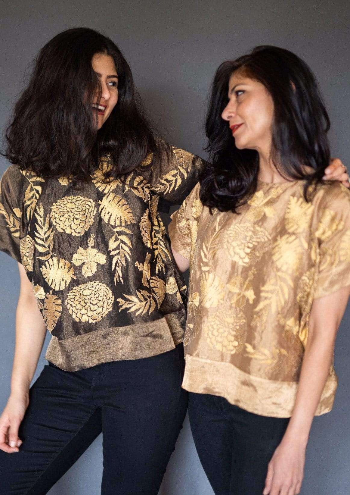 Taika by Poonam Bhagat Shirts & Tops Chanderi top with gold blossom embroidery