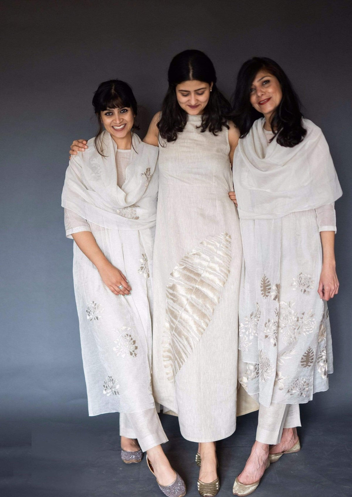 Taika by Poonam Bhagat Tunics Tissue side pintuck tunic & pants with dupatta(Right)