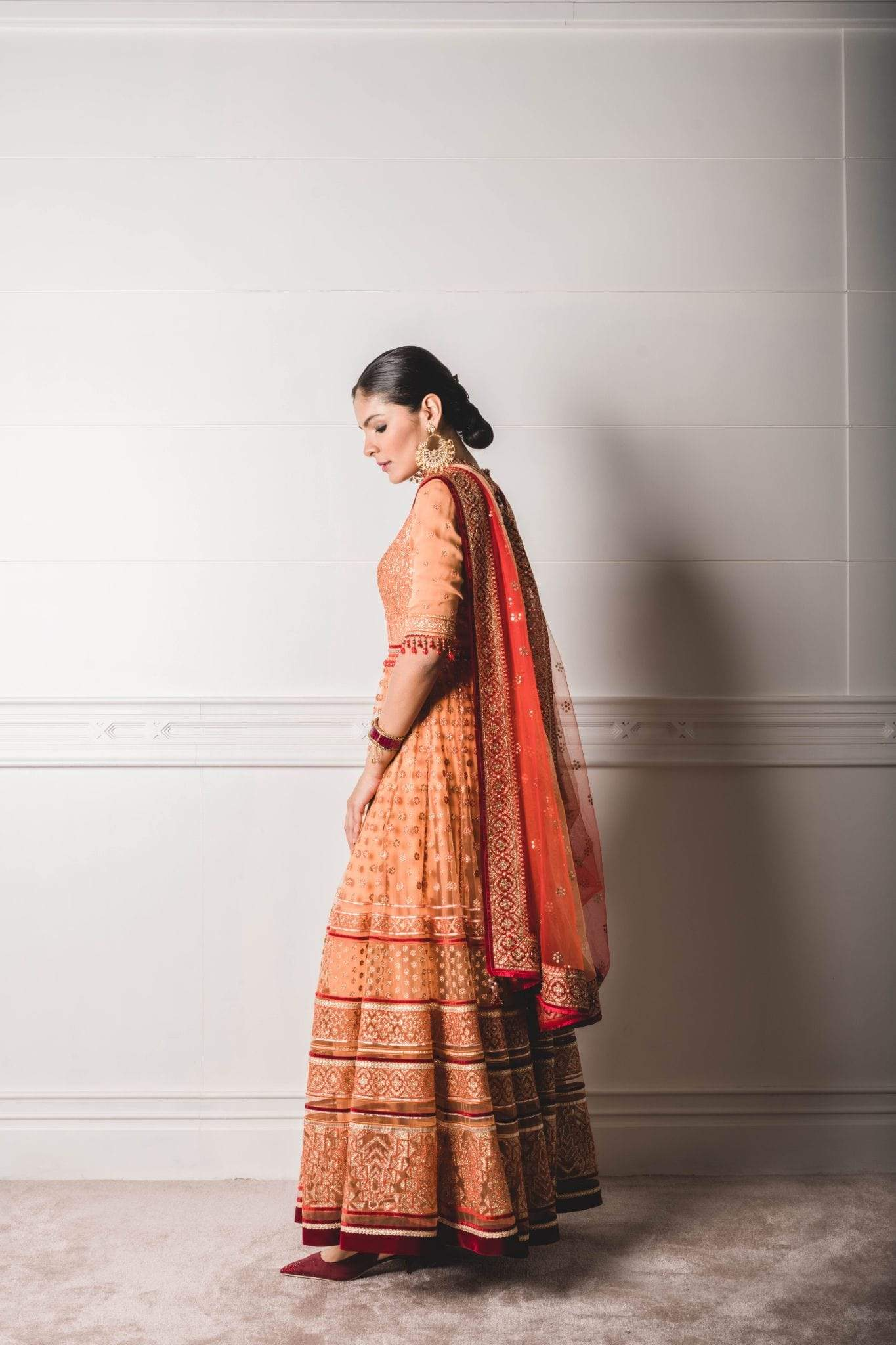 Tarun Tahiliani Anarkalis Anarkalis with gold embroidery with braids and velvet tapes