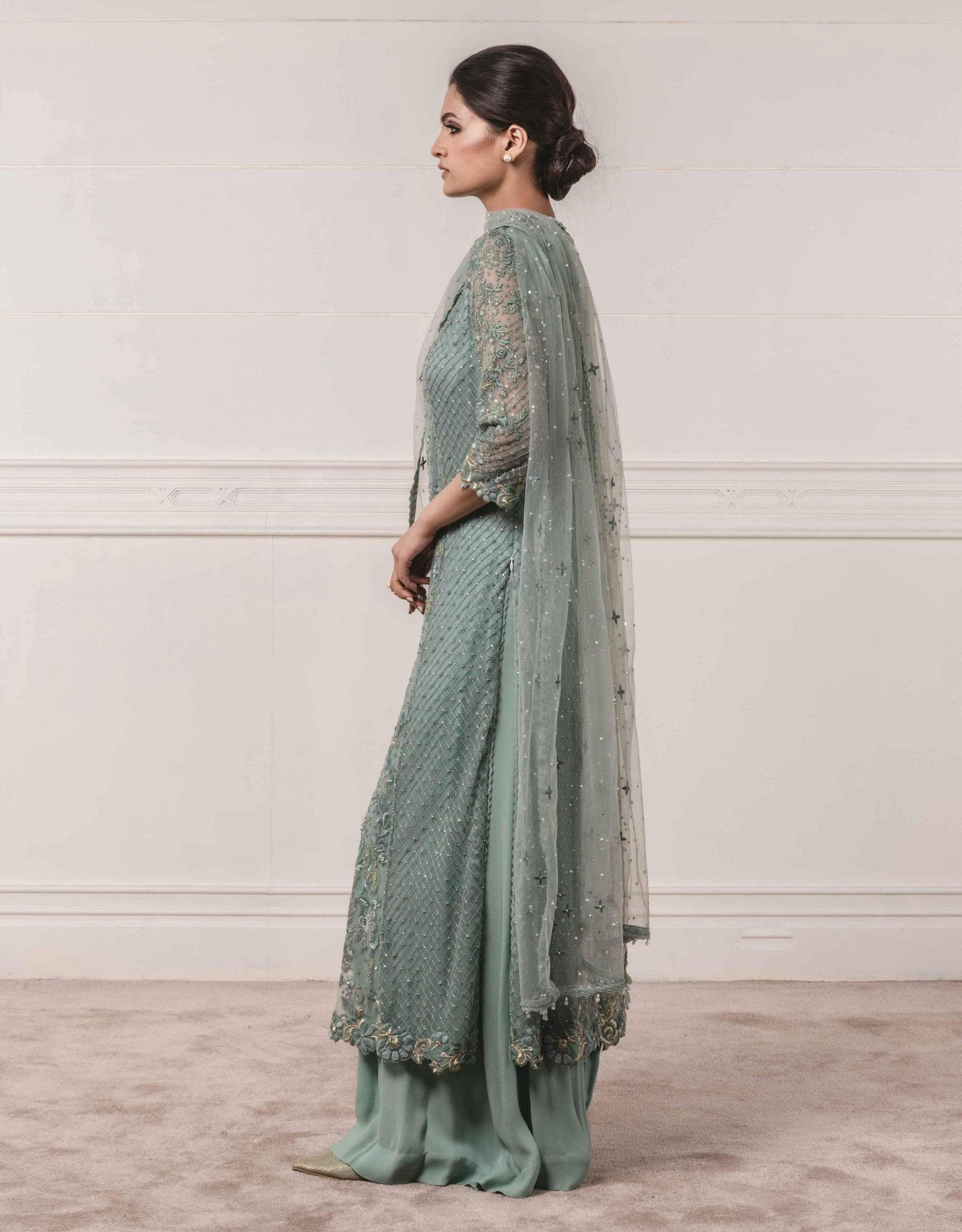 Tarun Tahiliani Shararas Tulle kurta paired with sharara and dupatta