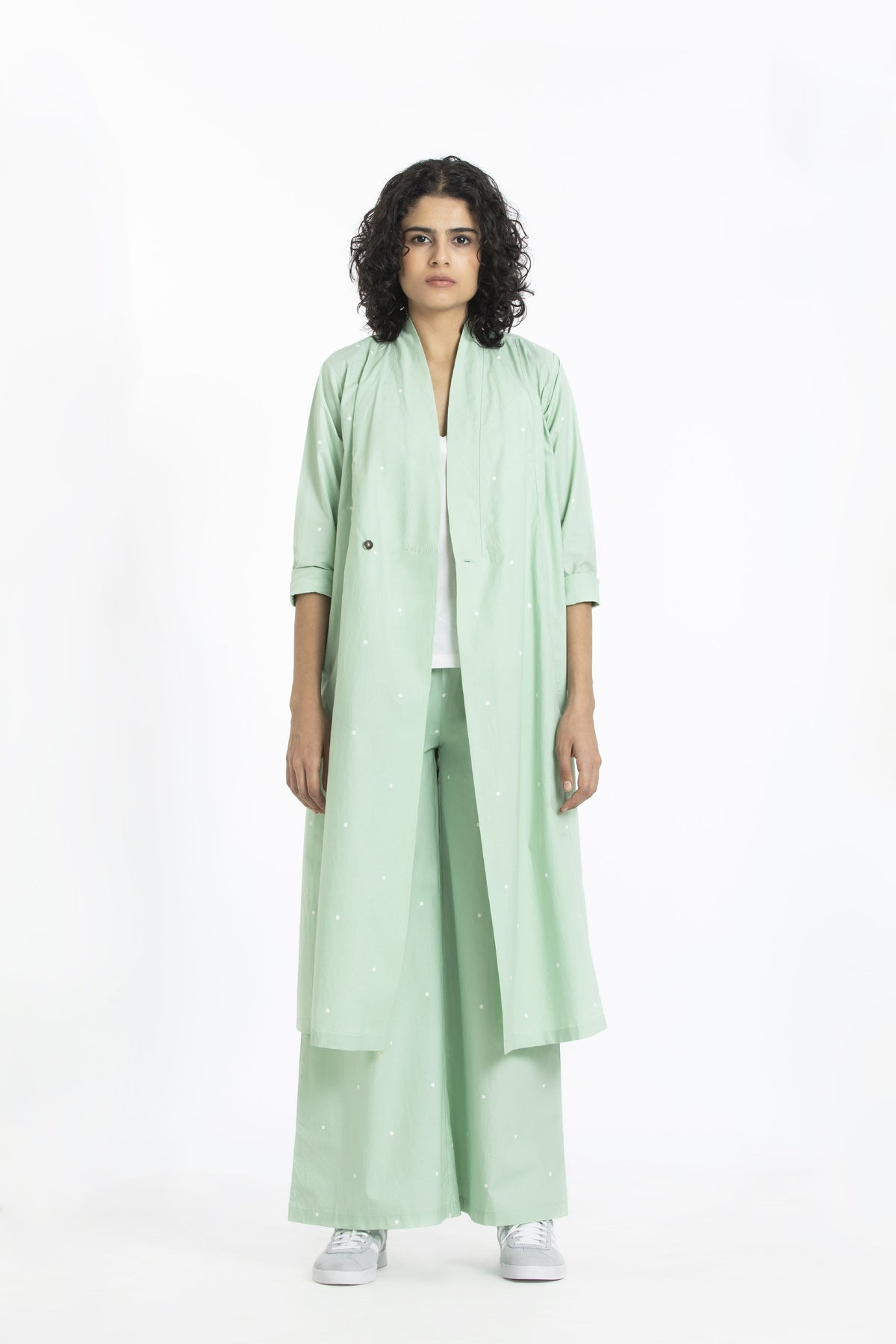 Three Co-ordinated sets Wrap collar jacket with broad bottoms