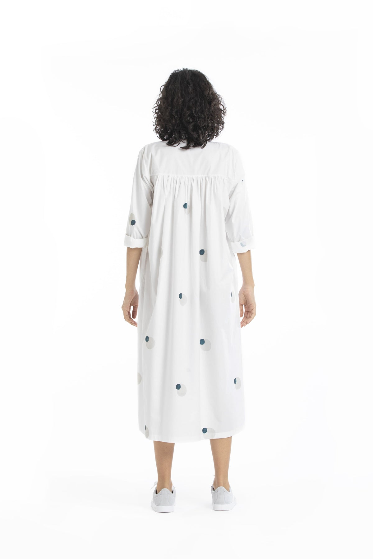 Three Dresses Printed dress in white cotton poplin