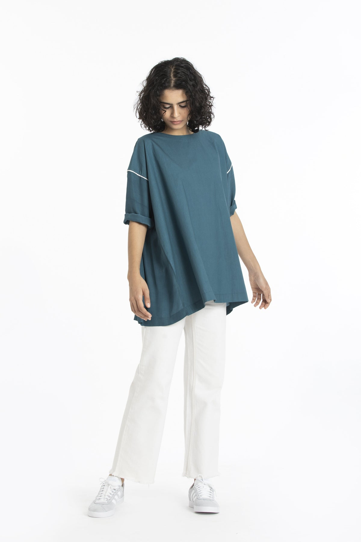 Three Shirts & Tops Cotton poplin teal top
