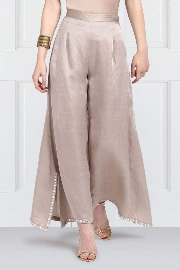 Twenty Nine Bottoms Asymetric mirrorwok palazzos with slits
