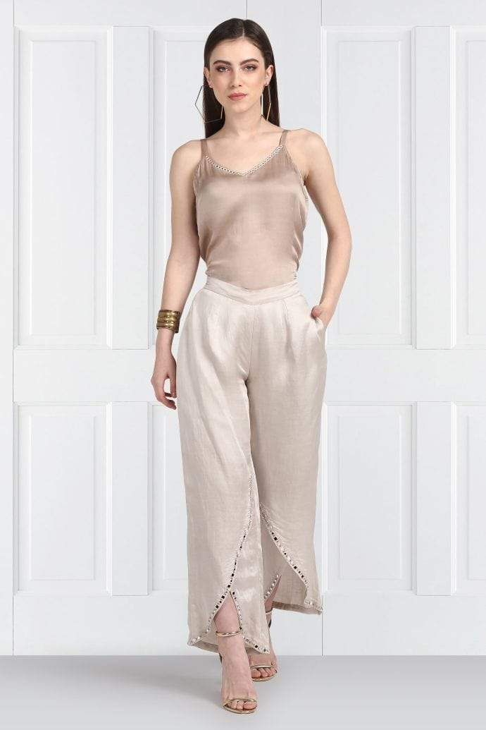 Twenty Nine Bottoms Taupe mirrorwork overlap flap pants