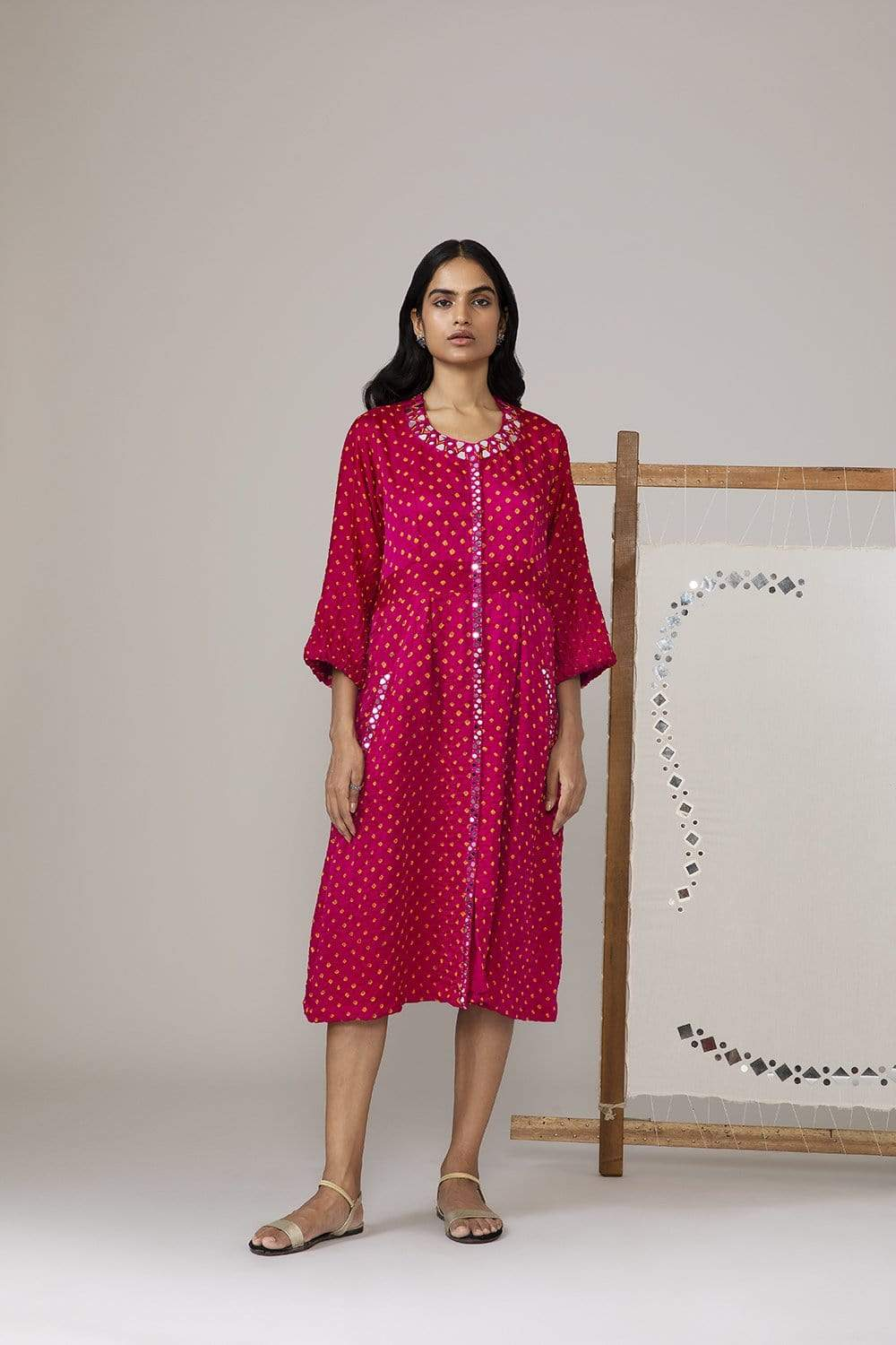 Twenty Nine Dresses Bandhani yoke dress