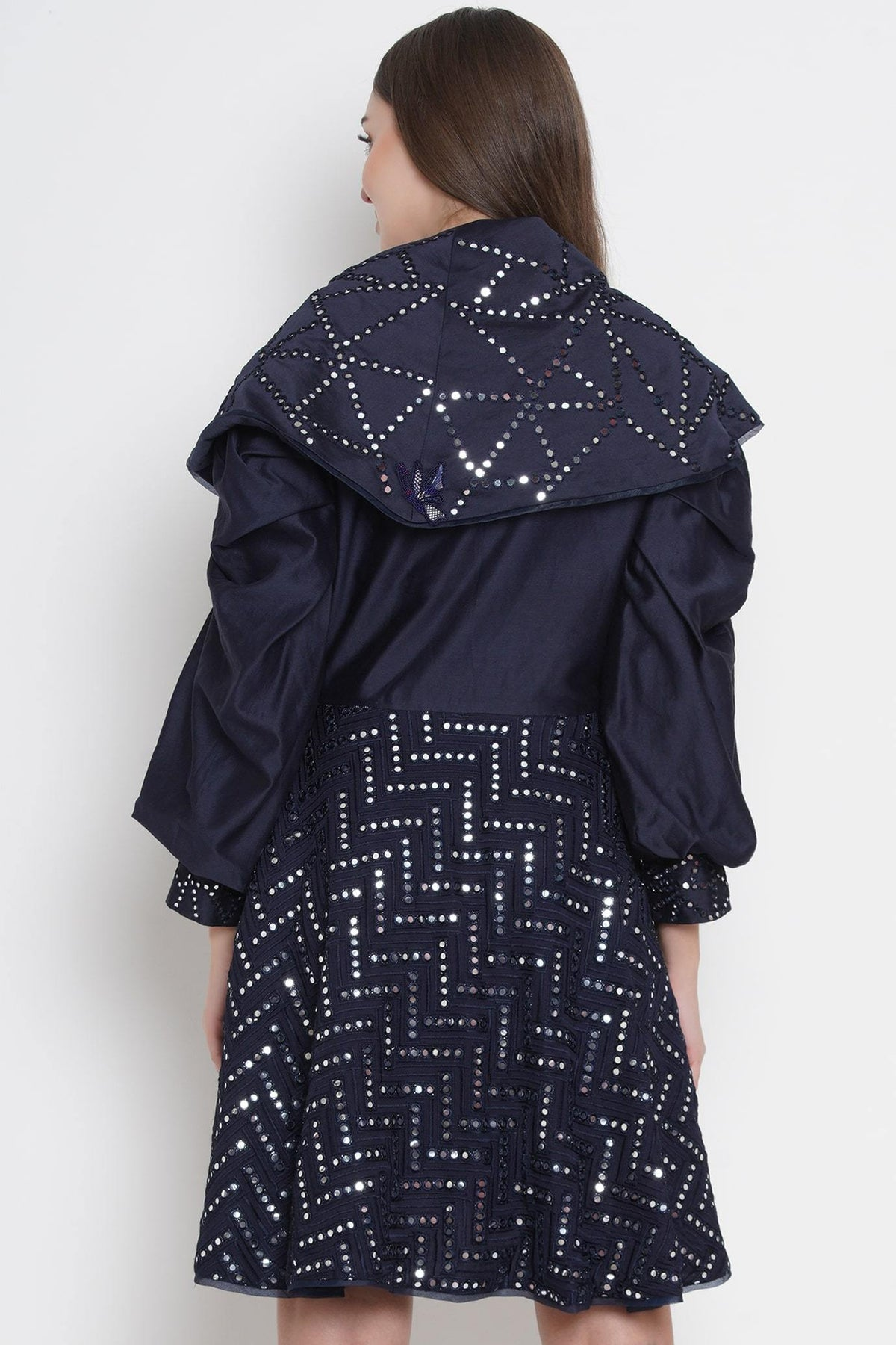 Twenty Nine Jackets Navy blue flap collar mirrorwork jackets dress