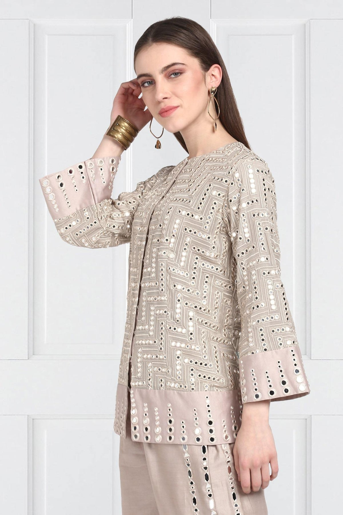 Twenty Nine Jackets Taupe a line mirrorwork jackets