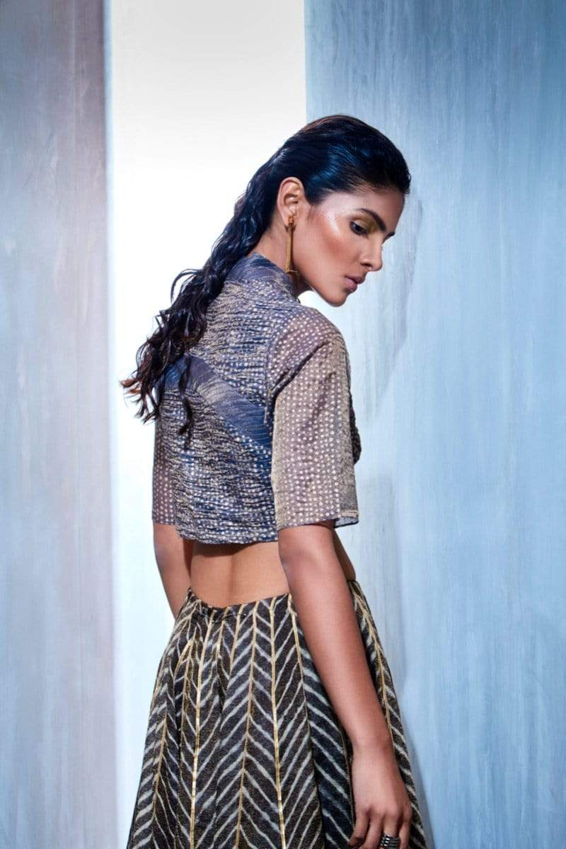 Urvashi Kaur Blouses Ruched polka block print tissue silk crop top.