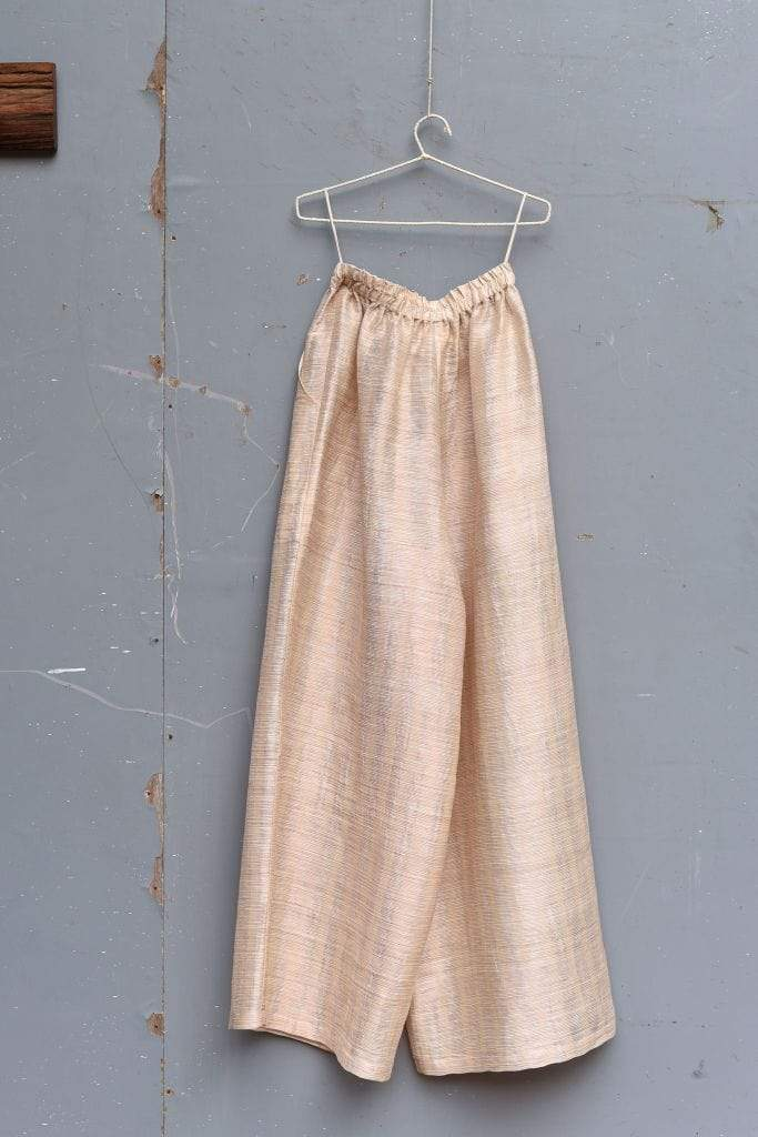 Urvashi Kaur Bottoms Metallic yarn slouchy striped pants